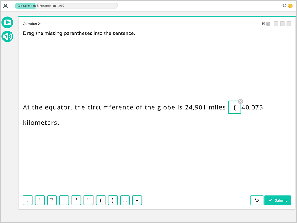 Freckle software showing language learning