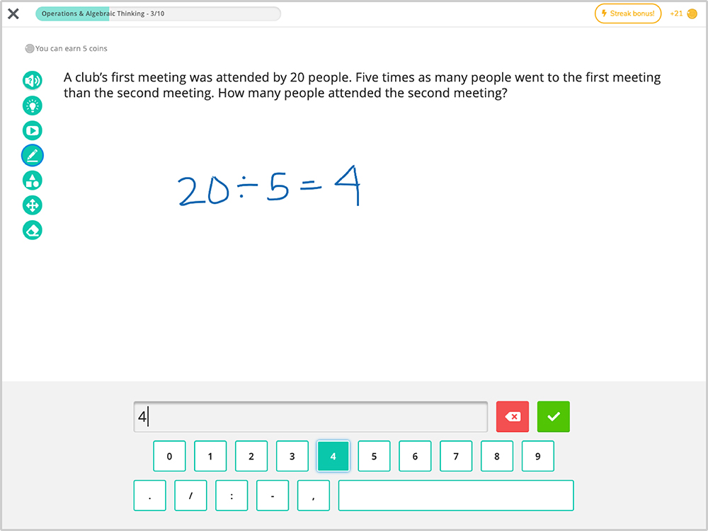 Freckle software showing a math problem and solution